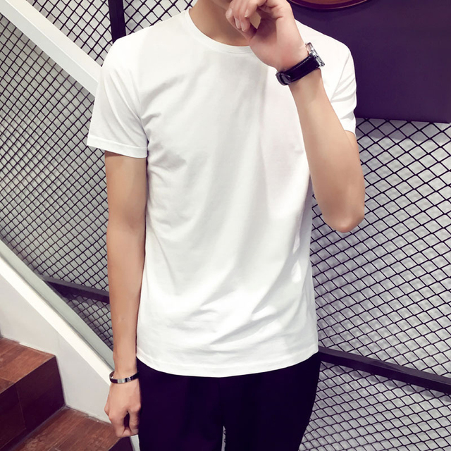 Trendy Men T Shirt Casual Loose Short Sleeve Slim Men's Basic Tops Tees Summer Stretch Solid T-shirt Male Clothing White 8J0299 1