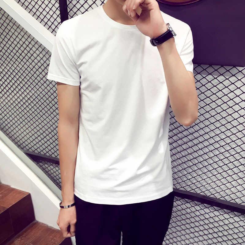 Camisa Dos Homens T de moda Casual Solta de Manga Curta Básica dos homens Magros Tops Tees Verão Estiramento Sólidos T-shirt Roupa Masculina branco