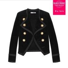 32848b4edf892 Di alta qualità 2018 autunno inverno di nuovo modo di velluto Oro Doppio  Petto corto blazera cappotti nero giacche femminili gx9.