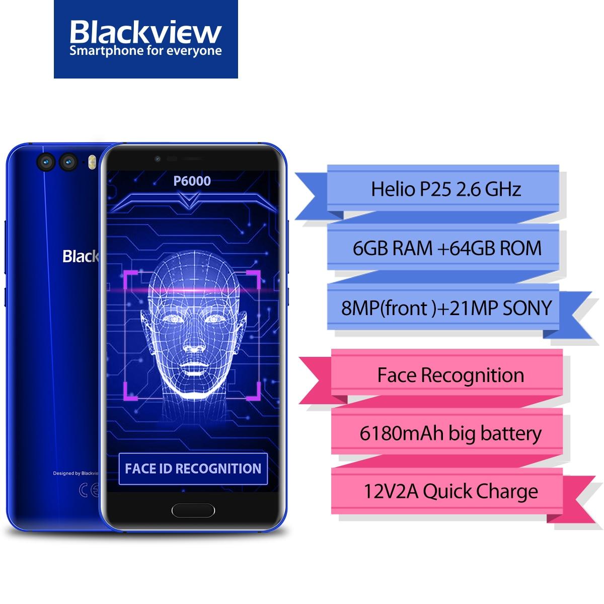 Blackview P6000 4g Phablet 6 gb di RAM 64 gb ROM 5.5 pollice Android 7.1 MTK6757CD OctaCore 21.0MP + 0.3MP macchina fotografica Viso Riconoscimento 6180 mah