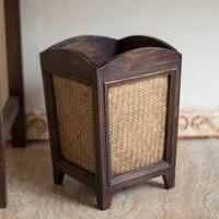 Деревянная винтажная мусорная корзина для дома, гостиной, без крышки, гостиничная бамбуковая ротанговая мусорная офисная бумага lo116634