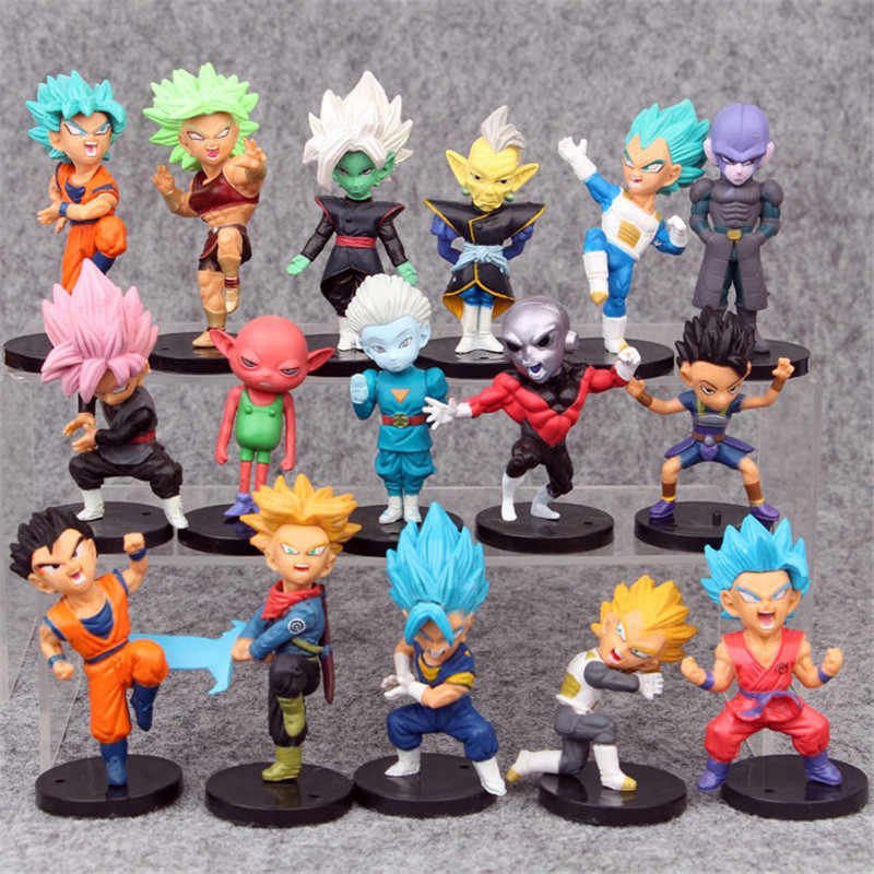 NOVA 16 pçs/set Super Dragon Ball Brinquedos Son Goku/Gohan/Zen O/Jaco/Troncos/Mai /Zamasu/Grand Sumo Sacerdote/Vegeta PVC Figurinhas Colecionáveis