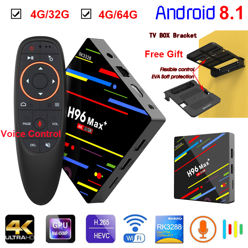 [Genuine] H96 Max Android 8.1 TV Box 4G/32G 4G/64G RK3328 Quad Core 2.4/5G Wifi 4K Smart Media Player Set Top Box +Voice Control h96 max h2 4g 64g android 7 1 tv box rk3328 quad core 4k smart tv box 2 4g 5g dual wifi bluetooth 4 0 usb3 0 media player box tv