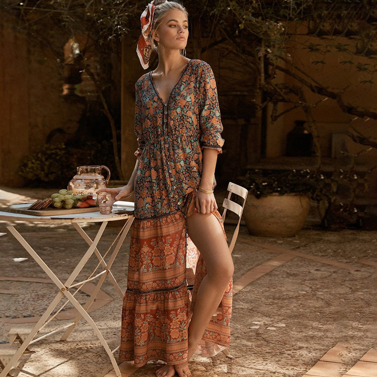 fd4f81cc52 Gypsy Style Floral Print Dress V-Neck Long Sleeve Autumn Dresses 2019  Bohemian Maxi Dress