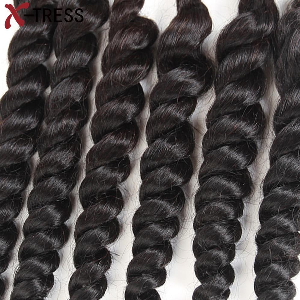 X-TRESS Mixed Synthetic and Human Hair Bundles Heat Resistant Fiber Weaving 16-20 Loose Deep Weaves Hair Extensions  6pcs/lot