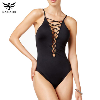 NAKIAEOI 2018 Sexy One Piece Swimsuit Women Swimwear Bodysuit Bathing Suit Vintage Beach Wear Bandage Monokini Swimsuit Black XL 1