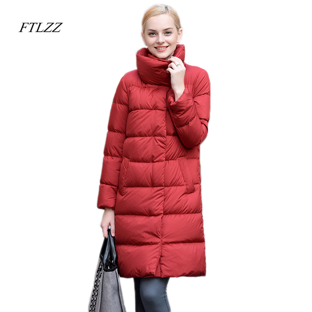 Ftlzz 2017 Winter Women Down Jacket Casual Stand Collar Slim Medium Long Coat Fashion Thick Ultra Light Duck Down Parka Coat