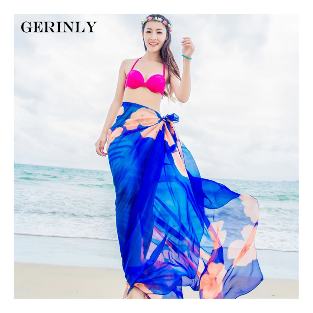 26c6c5c01b90f GERINLY Sarong Beach Pareo Hibiscus Print Chiffon Scarf Hawaiian Dresses  Sexy Women Bikini Cover Up Wrap Hijab Plus Size Scarves-in Women s Scarves  from ...