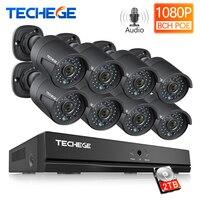 Techege 8CH NVR 48 в POE 1080 P система видеонаблюдения 2MP ip-камера аудио запись ИК Водонепроницаемая система обнаружения движения камера безопасности