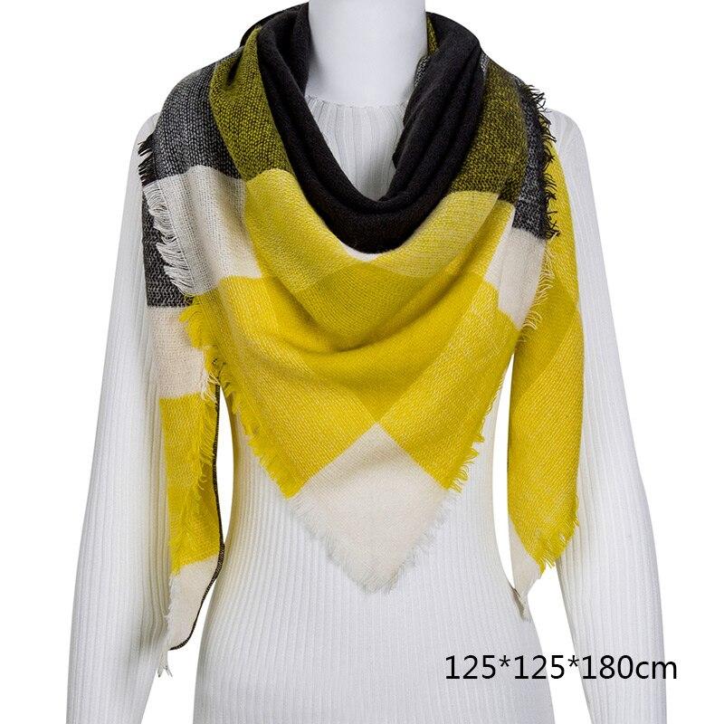 Горячая Распродажа, Модный зимний шарф, Женские повседневные шарфы, Дамское Клетчатое одеяло, кашемировый треугольный шарф,, Прямая поставка - Цвет: B8