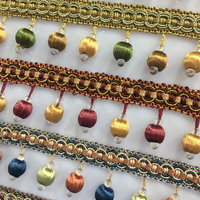 Wholesale 5 Yard Lot Curtain Lace Trim Tassel Fringe DIY Beads Ball Sofa Tablecloth Lace Accessories