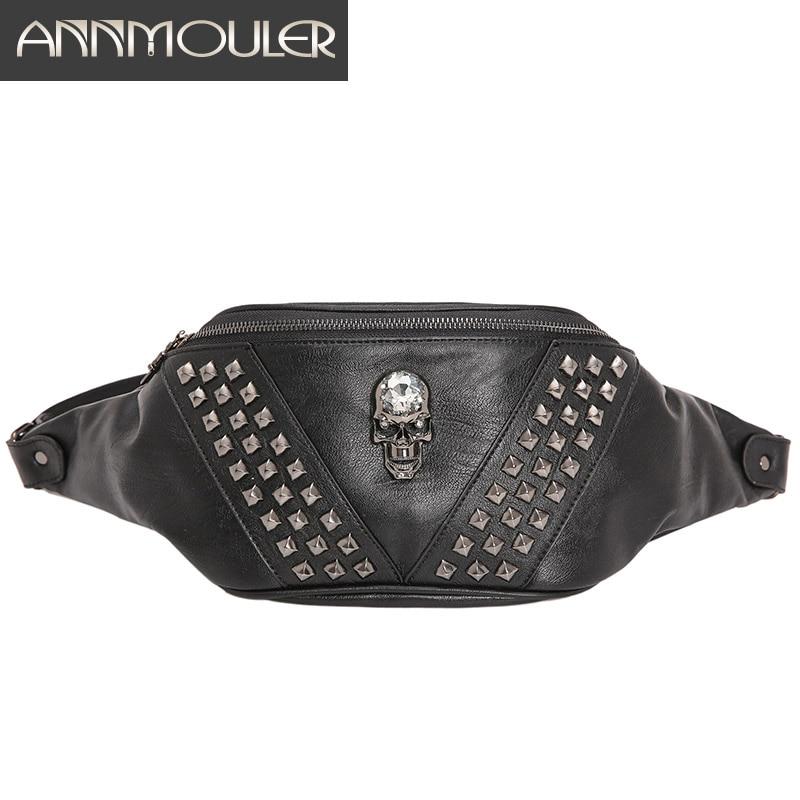 Annmouler Unisex Waist Bag Pu Leather Punk Travel Phone Belt Bag Women And Men Fanny Pack Shoulder Bag Skull Fashion Hip Bag