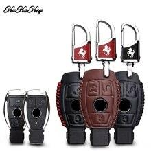 KUKAKEY Genuine Leather Car Key Case Bag For Benz W124 W202 W 210 W210 W211 Amg W204 Cover Styling Accessories