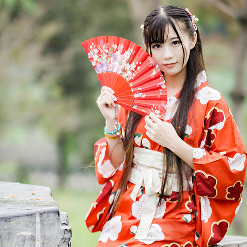 Japanese Style Tea Ceremony Kimono Female Traditional Vintage Flower Yukata Clothing Bow Tie Obi Emboridery Dress For Women