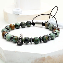 Mcllroy men bracelet 6mm green Natural stone Titanium steel Sparta bead bracelets women bangle Christmas jewelry new fashion(China)