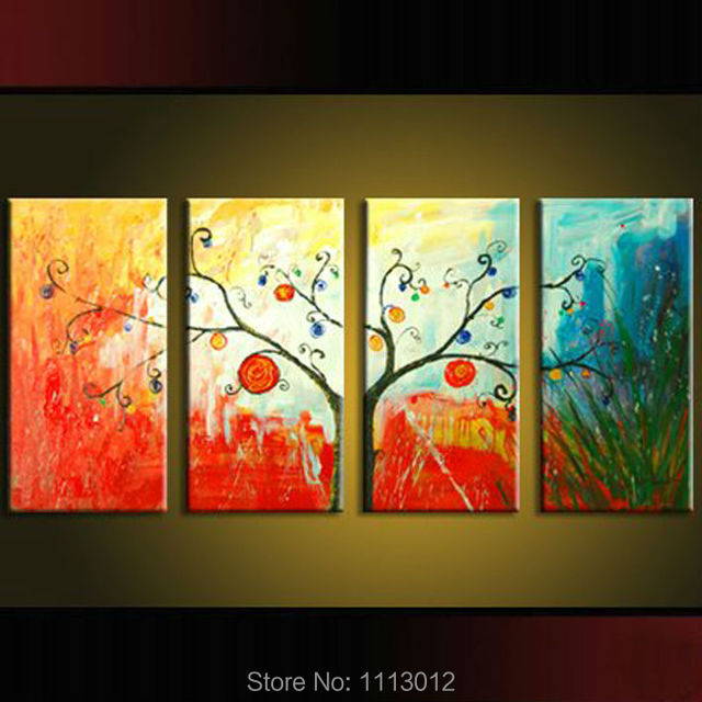 Abstract Red Tree Of Life Oil Painting Hand Painted 4 Panel Arts Set