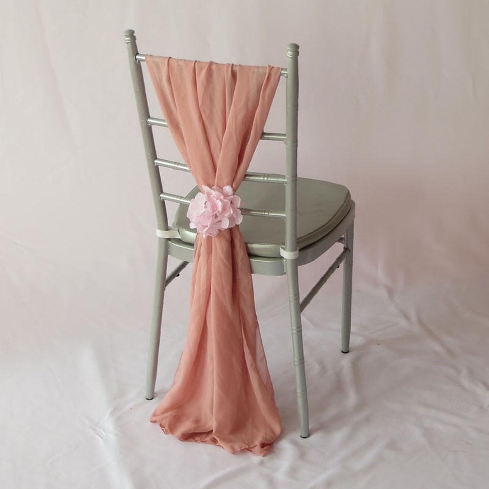 50 PCS Blush Pink Chiffon Chair Sash Chiavari Chair Cover