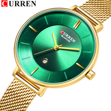 Womens Analog Quartz Watches With Stainless Steel Mesh Strap CURREN New Slim Ladies Wristwatch with Date Gold Female Clock Gifts(China)