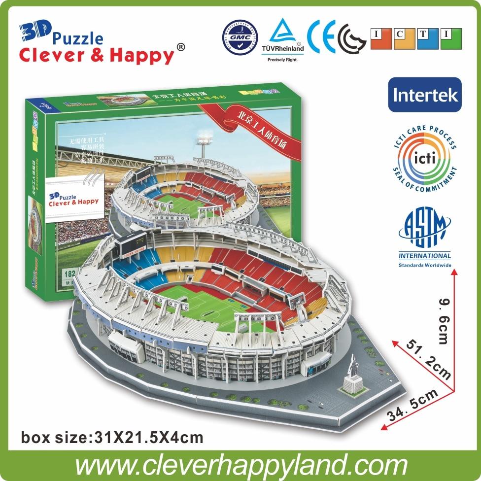 Kina FC Stadion 3D Puslespil Model Papir Beijing Arbejder Stadion Brasilien Stadion