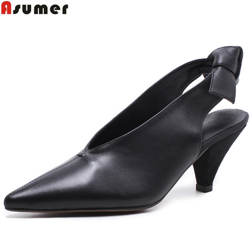 ASUMER black fashion pointed toe elegant wedding shoes woman slingbacks Natural genuine leather shoes women high heels shoes creativesugar elegant pointed toe woman