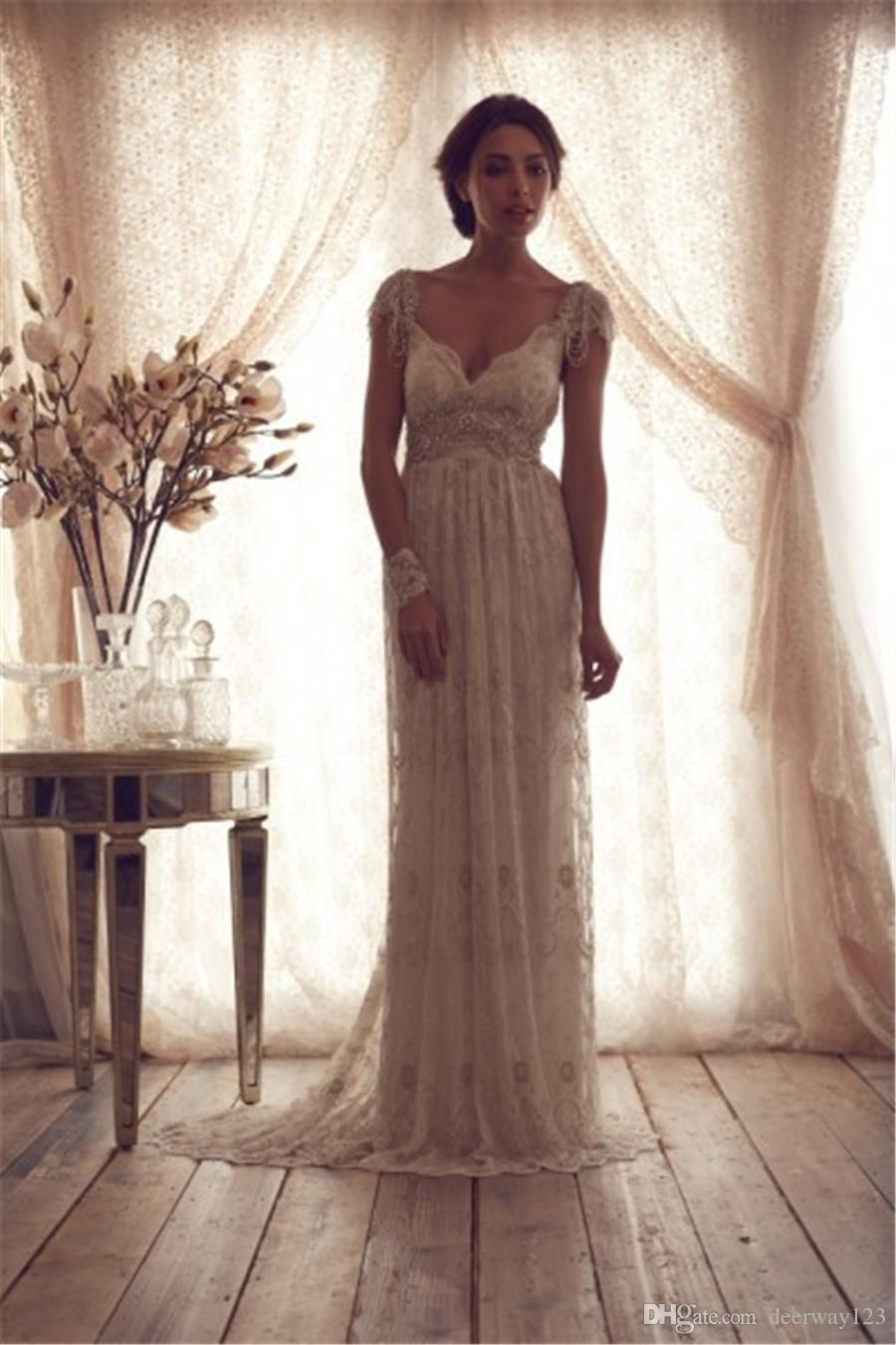 Gorgeous Wedding Dresses 2019 Cap Sleeve With Crystal Sheer Applique Lace Beaded Sash Sweep Train Bride Gowns Beaded Vestidos De