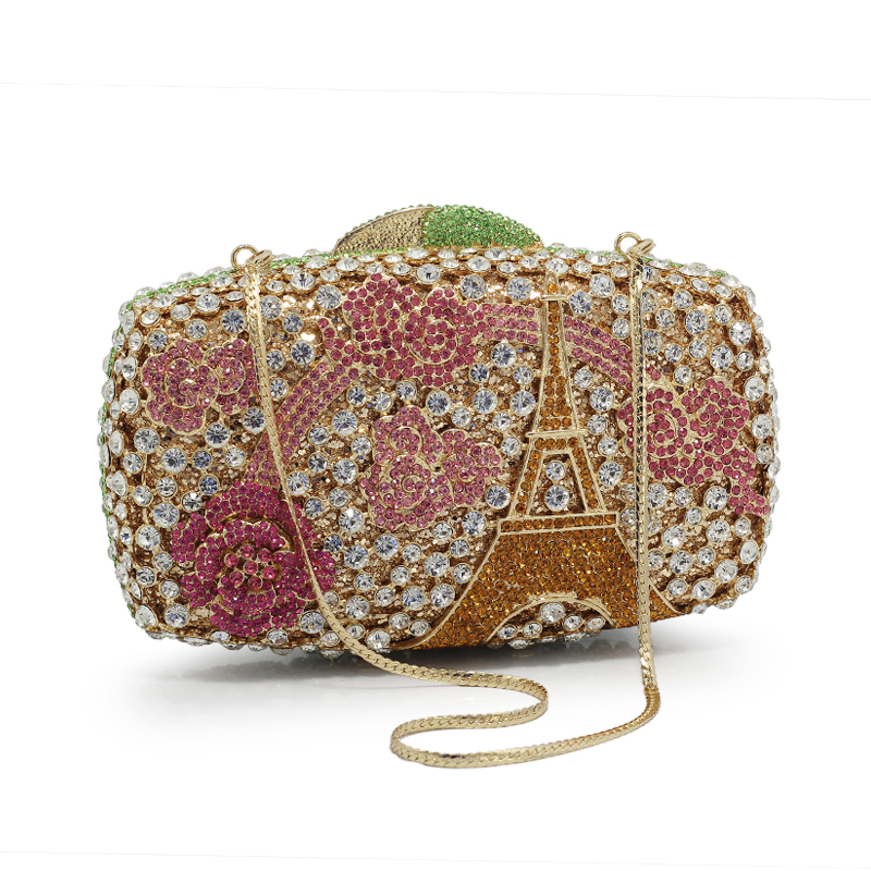 Women evening bags ladies wedding party clutch bag crystal gold diamond purses(88220-GP) newest design evening bags ring diamond clutch chain shoulder bag purses wedding party banquet bag blue gold green red 88621 d