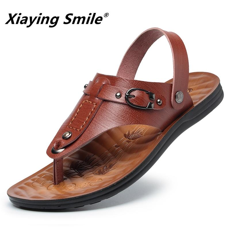 Sandals 2018 Summer Outside Fashion Casual Slippers Men Shoes Flip Flops Metal Beach Slipper Male Designer High quality Sliders
