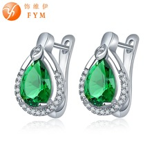 FYM Brand Luxury 7 Colors Big Green Crystal Earrings Fashion Sliver Plated White Rhinestone Zircon Water Drop Hoop Earrings fym brand 7 colors sliver plated big pink crystals zircon earrings micro paved white cz hoop earrings luxury jewelry women