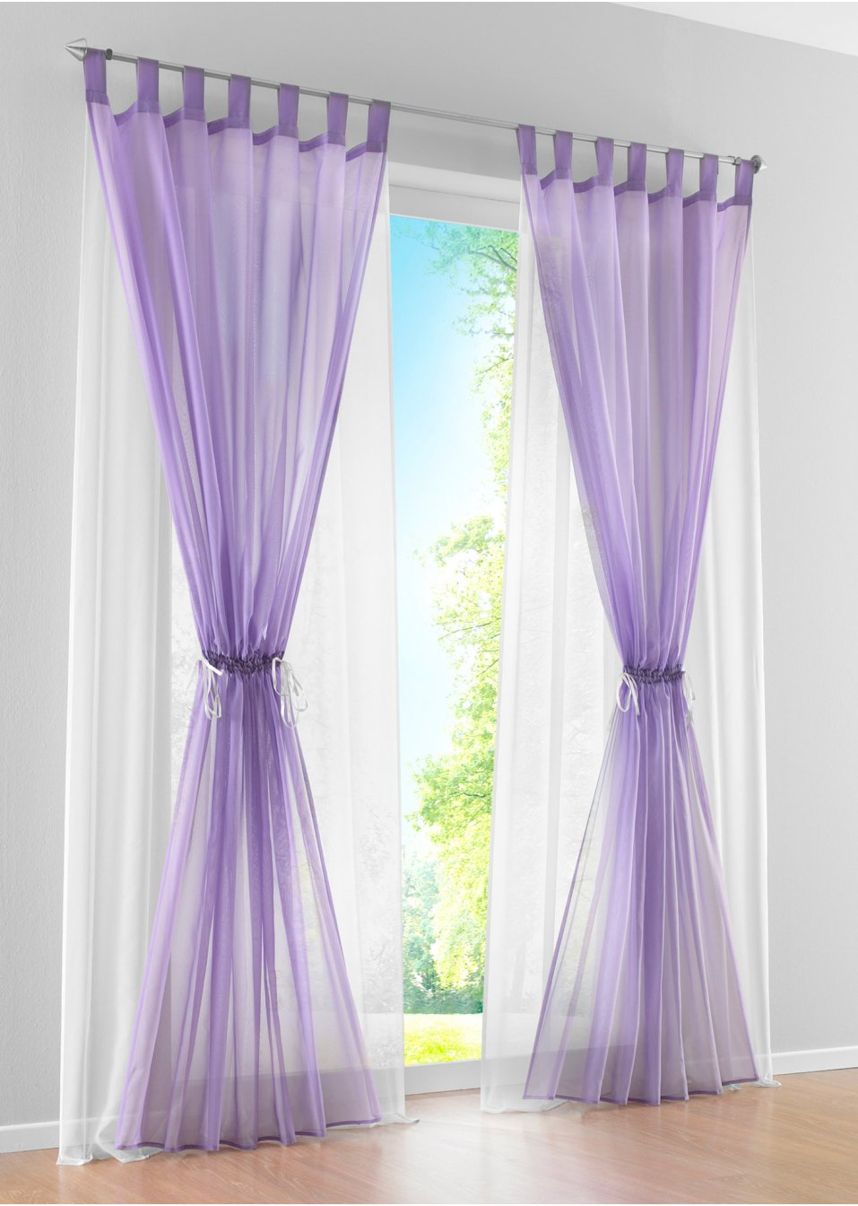 Rustic Solid Color Double Layer Curtains For The Bedroom, Voile Can  Customized,Fresh Candy Color Purple Green White Orange