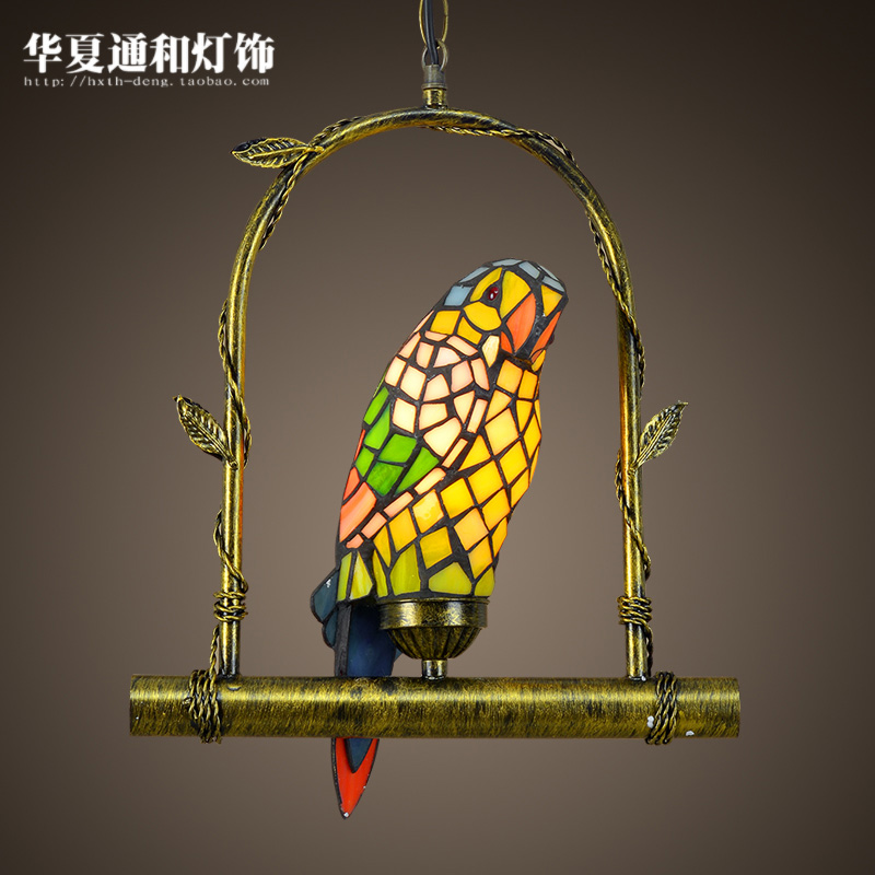 2016 new  stained glass lamps corridor balcony restaurant coffee shop bar retro parrot pandent lights
