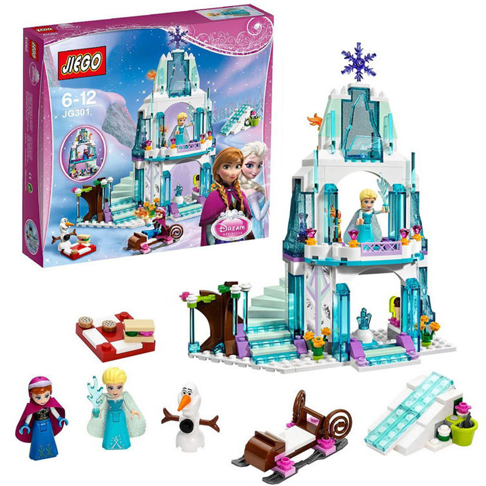 JG301 SY373 Anna Elsa Snow Queen JP79168 Elsa's Sparkling Ice Castle Building Blocks Brick Compatible Friends with Block Toys jg303 building blocks arendelle castle princess anna elsa buildable snow queen figures sy371 with blocks kids toys gift page 8