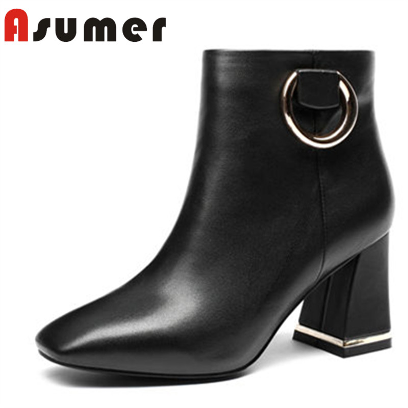ASUMER Ankle-Boots Thick Heels Adult Genuine-Leather Fashion Women for Autumn Square