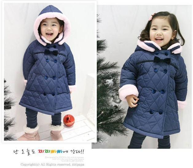 Free shipping winter girl new cotton-padded jacket bowknot double-breasted hooded cotton-padded clothes philips gc 4922 80 perfectcare azur
