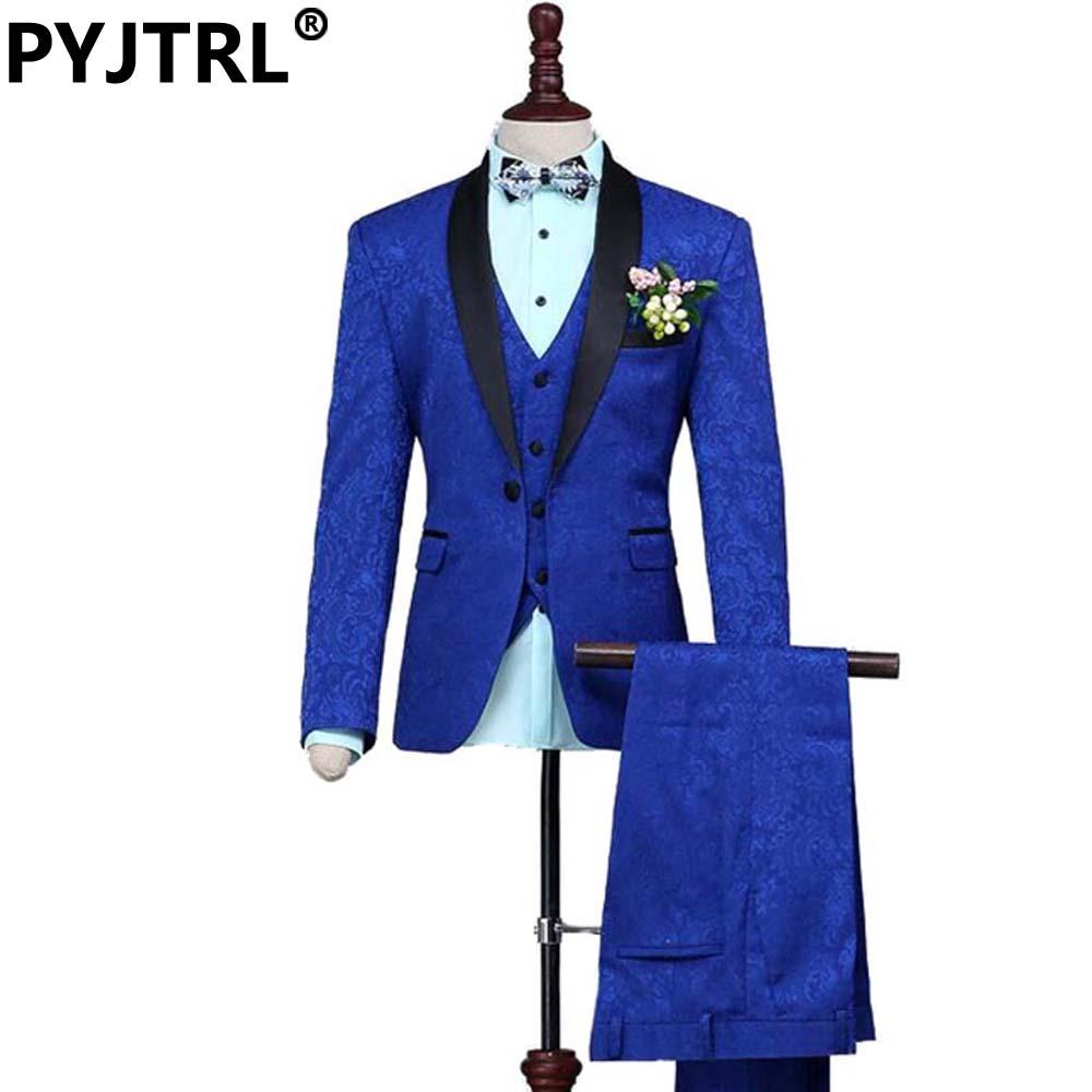 (Jacket+Pants+Vest) New Fashion Groom Wedding Three-piece Jacquard Weave Suits Royal Blue Mens Suit Brand Clothing