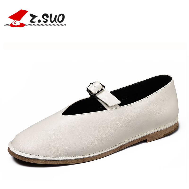 z.suo Sheepskin Flats Women Shoes Mocassin 2017 Womens Genuine Leather White Loafers With Buckle Black Flat Ladies Casual Shoes 2017 spring genuine leather sheepskin shoes womens black white comfortable woman flat boat shoes buckle strap zapatos mujer 002k