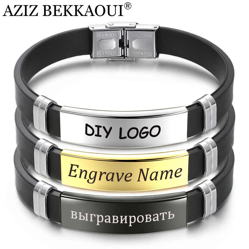 AZIZ BEKKAOUI Silicone Engrave Name Leather Bracelet for Men DIY Black Stainless Steel Bracelets Fashion Jewelry Dropshipping