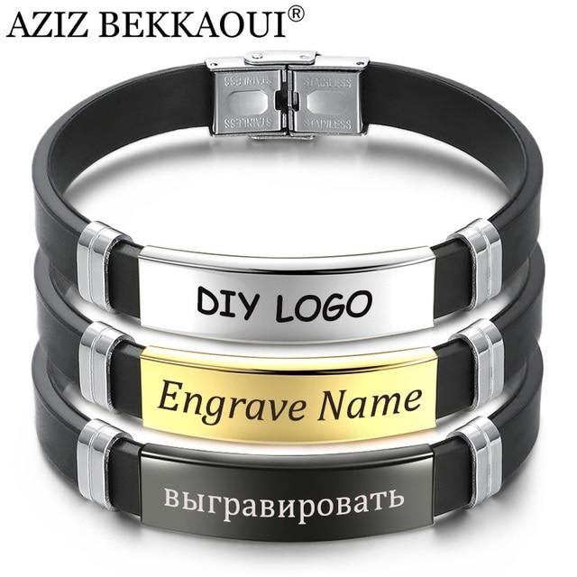 0a722582169a AZIZ BEKKAOUI silicona grabado nombre pulsera de cuero para hombres DIY  negro Acero inoxidable pulseras joyería