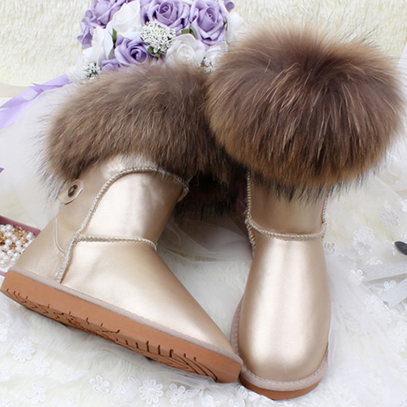 ФОТО Luxury Snow Boots Natural Fox Fur Cow Boots Waterproof Middle Calf Genuine Leather Winter Cotton Real Fur Boots Women's Shoes