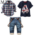 2016 Children's Clothing Sets For Spring Baby Boy Long Sleeve Plaid Printing 3pcs Suit F1802