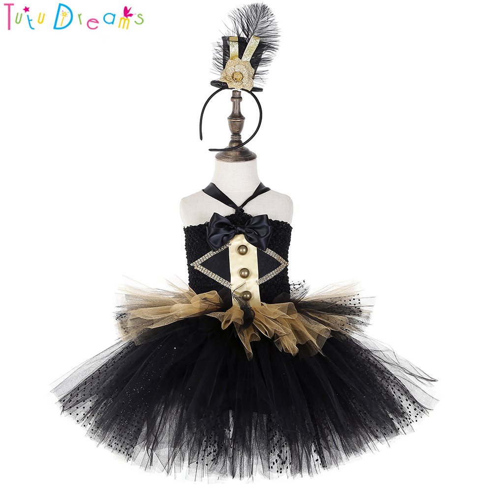 Ringmaster Baby Girl Tutu Dress and Hat Kids Black Gold Circus Lion Tamer Costume Clothes Golden Soldier Birthday Party Outfits