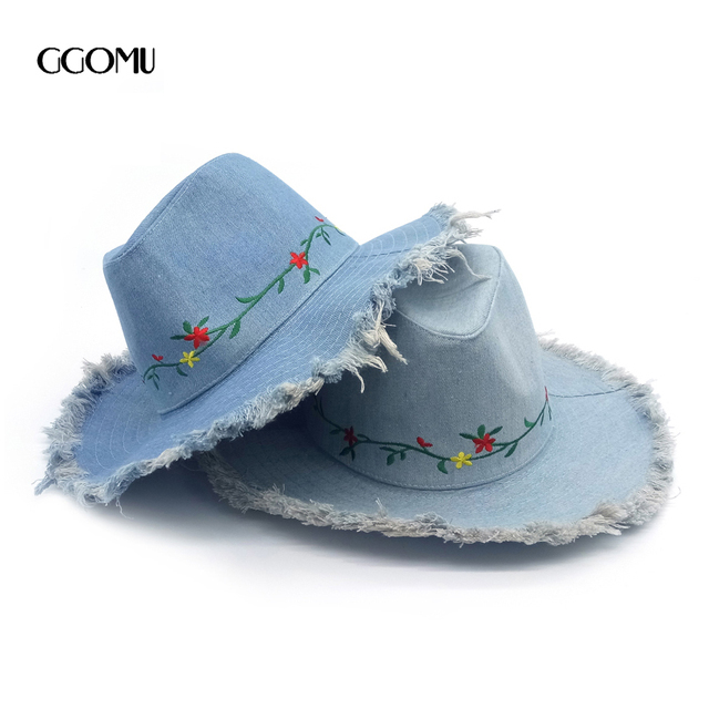 dropshipping Brand High quality denim Fedora Hat For Women Wide Brim Hat  Lady travel holidy cap embroidery flower Panama hats 9a5a3f854d3