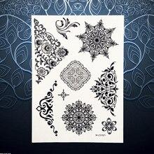1PC Nontoxic Body Art Waterproof Henna Tattoo Black Flower Design Temporary Tattoo Sticker For Women Arm Neck Tatoos PBM-LS1021