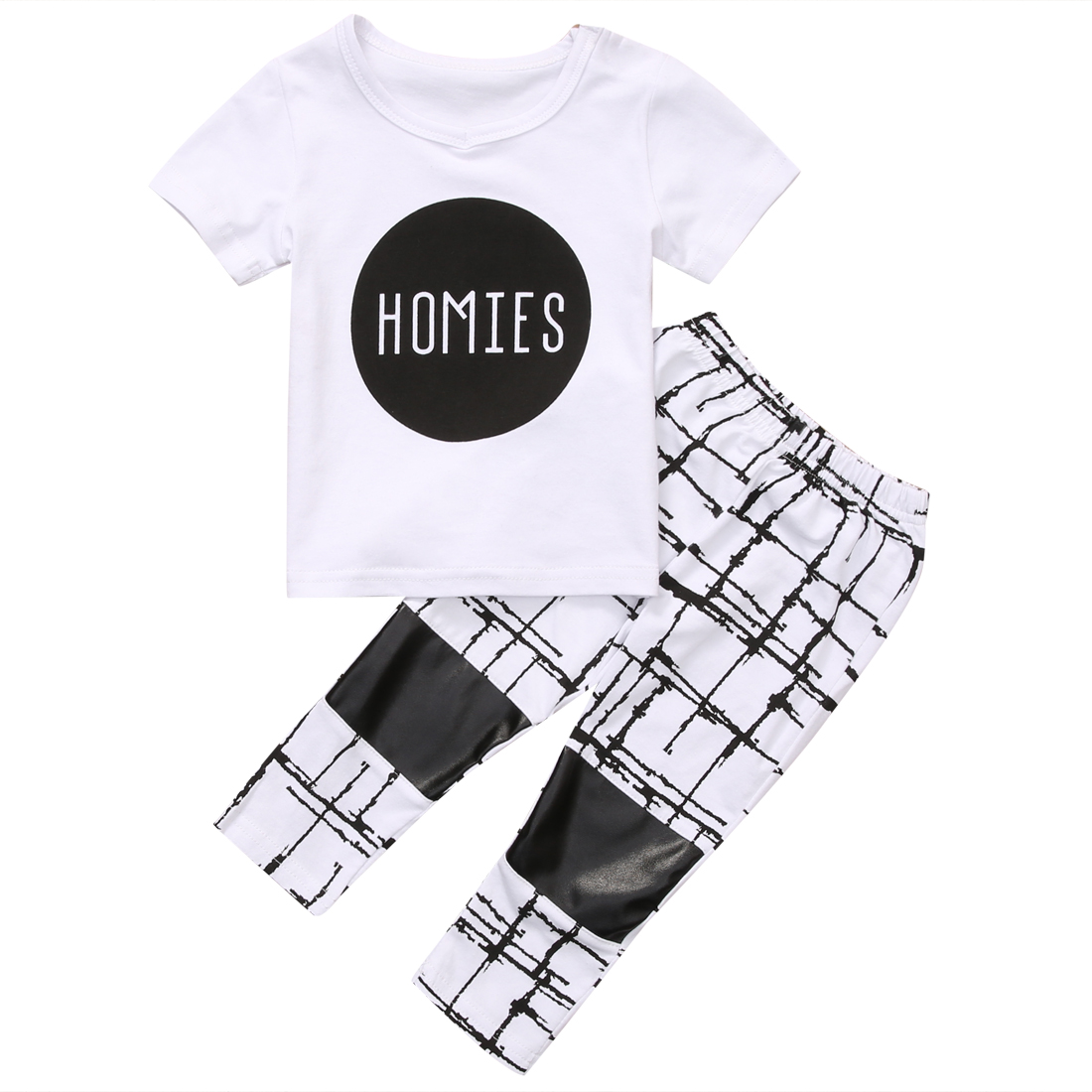 2017 Fashion Toddler Kids Baby Boy Girl Clothes Summer Short Sleeve HOMIES T shirt Tops Pant