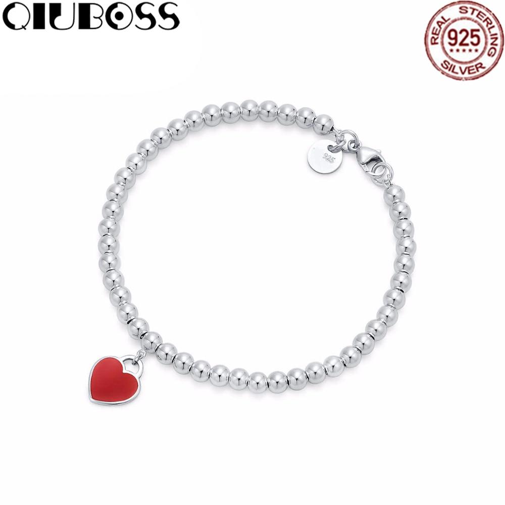 QIUBOSS New Trendy Heart Bracelets Brand TIFF 925 Streling Silver Pendant Charm New York For Women Elegant Fine Bracelet Jewelry trendy letter heart round rhinestone bracelet for women