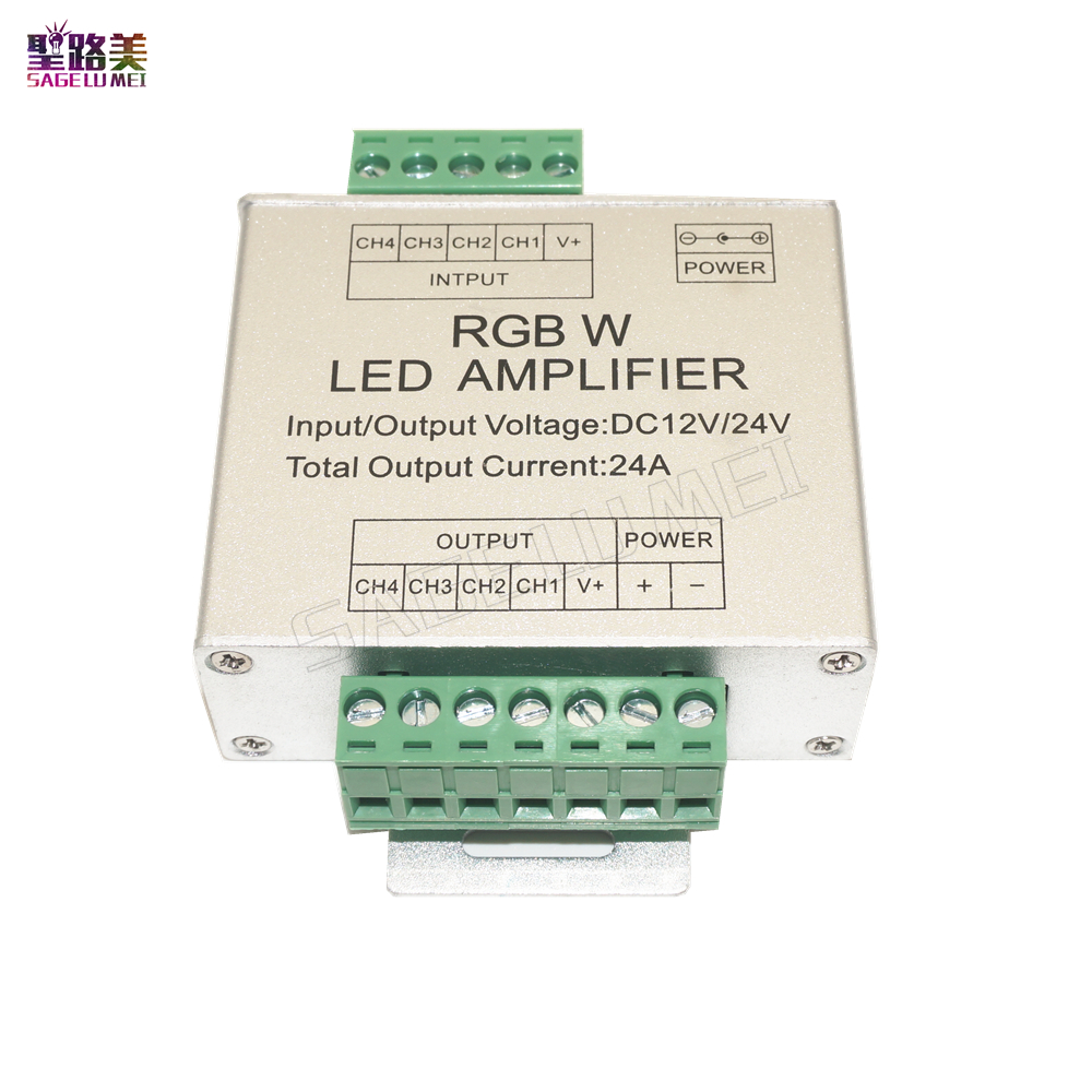 LED RGBW Amplifier DC12V-24V 24A 4 Channel 4CH RGBW LED Strip Power Repeater signal amplifier For RGBW led strip lamp lighting dc12v 24v led rgb rgbw amplifier aluminum 24a 3ch 4ch led controller for 5050 3528 led strip light tape power repeater console
