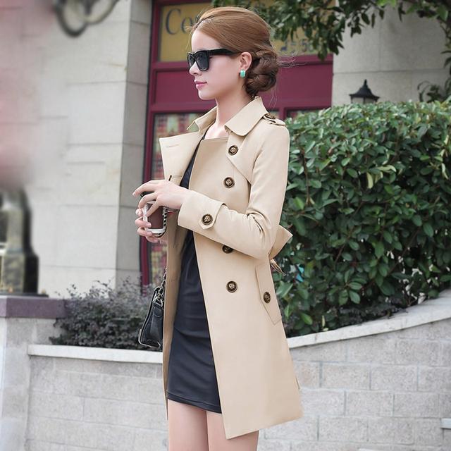 2016 mujeres del resorte de foso medio largo delgado primavera y otoño prendas de vestir exteriores de la mujer gabardina larga capa larga de moda JX323