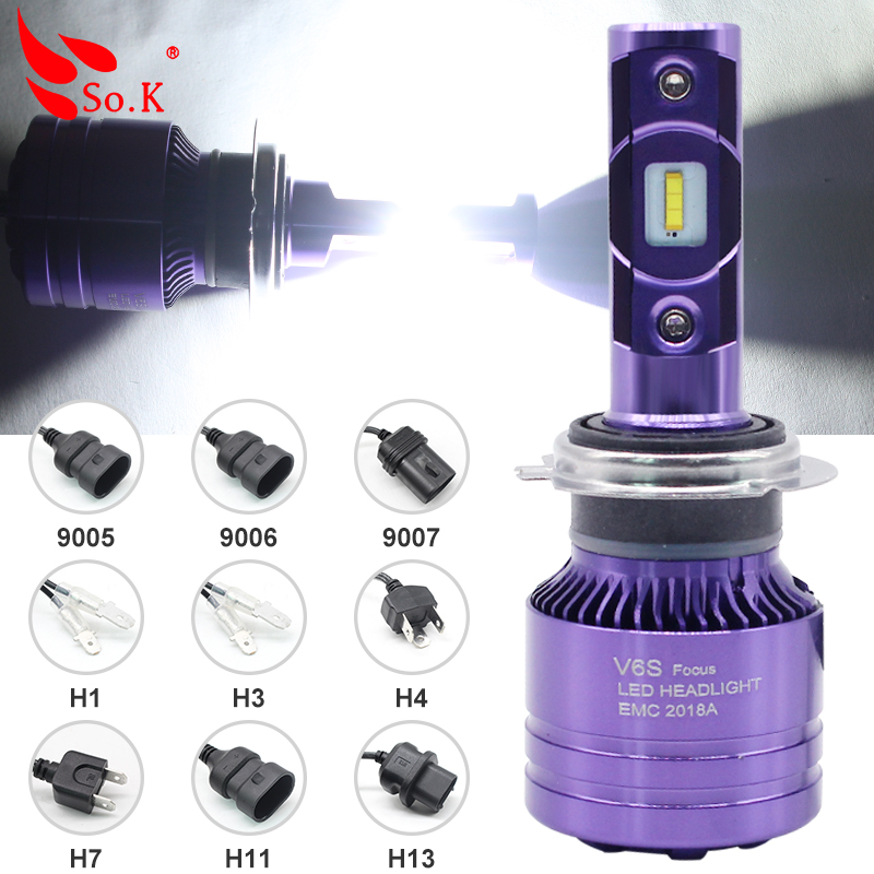 Car LED Headlight Bulbs All in One H7 H11 H1 HB3 HB4 9005 9006 55W 8000LM H4 H13 9007 Hi/Lo Waterproof High Low Beam Lights