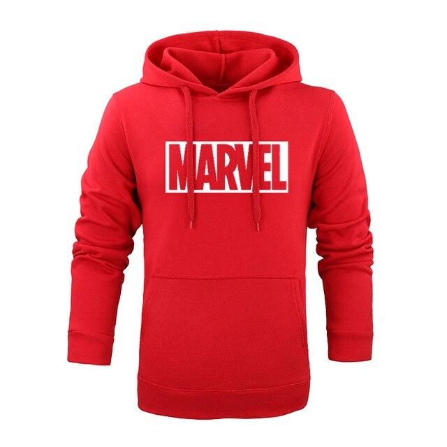 Brand 2017 New Women Men s Casual Marvel Print Black red blue Hedging  Hooded Fleece Sweatshirt 49e50df7ea