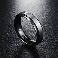 6mm Unisex Black Polished Matte Brushed Finish Tungsten Ring 2