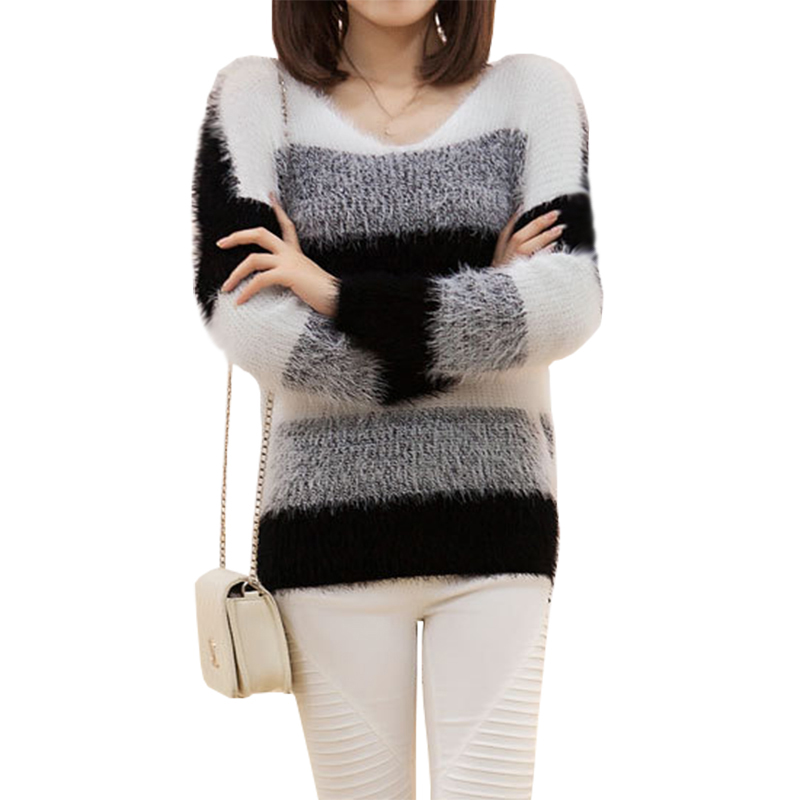 New Autumn Winter Sweater Women Korea Thin Loose Pullover Mohair Hedging Bottoming Striped Thicker Korean Jumper Vestidos LXJ058